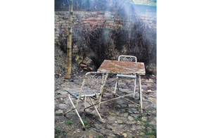 Vintage metal chairs in the backyard_s