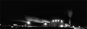 Factory by night