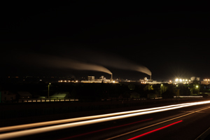 Factory panorama by night