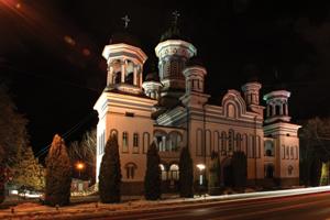 Radauti Cathedral by night