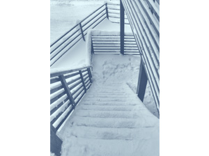 stairs covered with snow