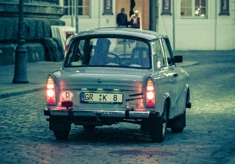 Vintage-Trabant-car-at-sunset